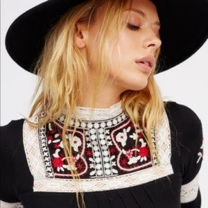 Free People Cozy On Embroidered Beaded Top